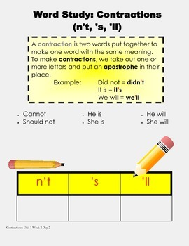 LEAD 21 Grade 2 Word Study, Unit 1 Week 2 Day 2 Contractions