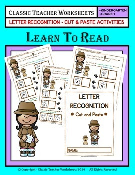 Letter Recognition - Cut & Paste - Kindergarten to Grade 1