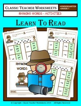 Rhyming Words - Rhyming Words Activities - Kindergarten to