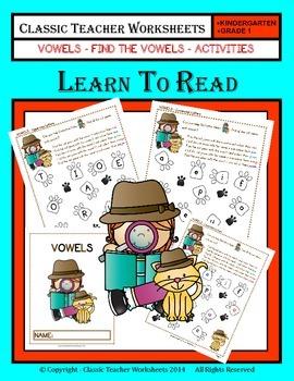 Vowels - Find the Vowels Activities - Kindergarten to Grad