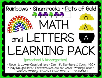 MATH & LETTERS LEARNING PACK - rainbows & shamrocks {presc