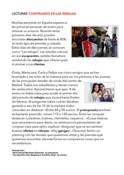 SPANISH READING /LECTURA COMPRANDO EN LAS REBAJAS
