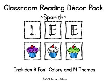 Spanish Reading Classroom Decor with Themed Accent Pics--C