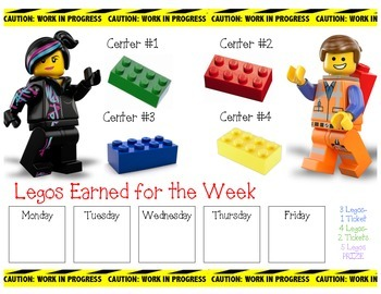 LEGO Movie themed Incentive Chart