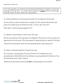 LEISURE UNIT TEST (FRENCH)