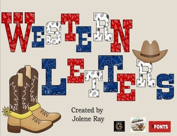 Western Font Capital Letters: Red, White, and Blue