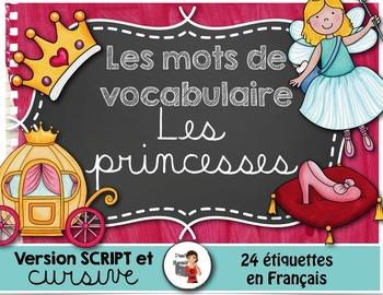 LES PRINCESSES - Mots de vocabulaire /24 affiches (script