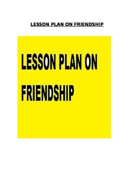 Friendship lesson plan