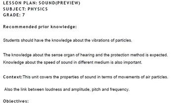 LESSON PLAN- SOUND-SUBJECT- PHYSICS-IGCSE-GRADE- 7