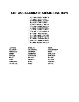 LET US CELEBRATE MEMORIAL DAY WORD SEARCH!
