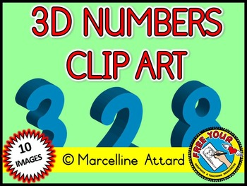 3D NUMBERS CLIPART: LIGHT BLUE SOLID SHAPES CLIPART NUMBER