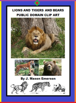 LIONS AND TIGERS AND BEARS PUBLIC DOMAIN CLIP ART (OVER 21