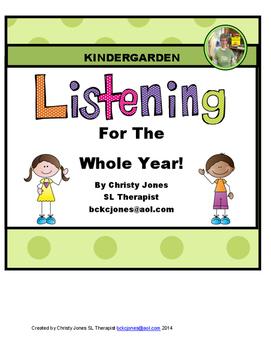 ELA CURRICULUM RELATED LISTENING WORKSHEETS for Kindergarten