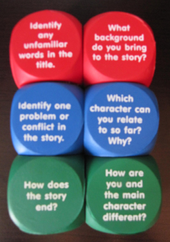 READING CUBES LITERACY CENTER pre during after READING DIS