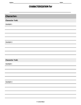 LITERATURE- Characterization Worksheet for ANY BOOK