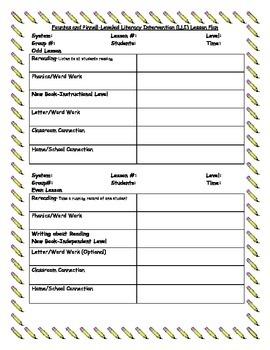 LLI (Leveled Literacy Intervention) Lesson Plan Template
