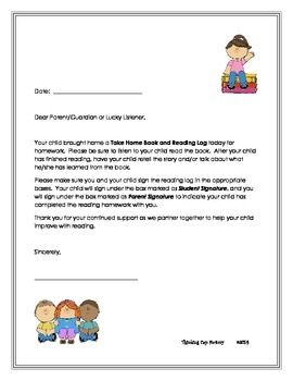 LLI Reading Log Parent Letter- FREE