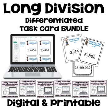 Long Division Task Cards BUNDLE (3 Levels)