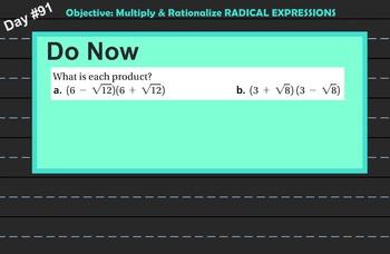 LONG HAUL: Algebra 2 Binomial Radical Expression 2 Smartboard #42