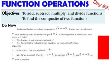 LONG HAUL: Algebra 2  Function Operations Smartboard #46