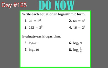 LONG HAUL: Algebra 2 Logarithmic Properties Smartboard #57