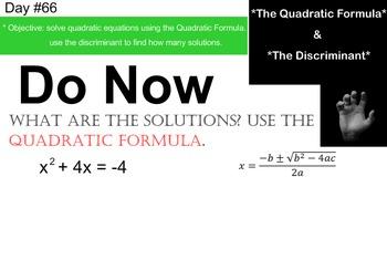 LONG HAUL: Algebra 2 Quadratic Formula and Discriminant Sm