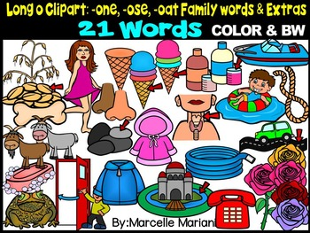 LONG VOWEL O CLIPART (-ONE, -OSE, -OAT & EXTRAS)