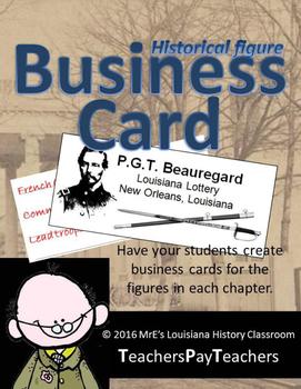 LOUISIANA - Historical Figures Business Cards