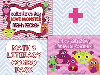 LOVE MONSTER Math & Literacy Centers COMBO for Valentine's