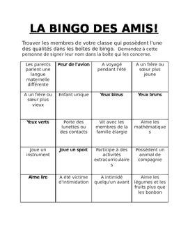 La Bingo des Amis