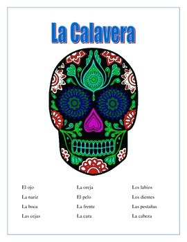 La Calavera-Label Parts of the Face -Spanish- Day of the D