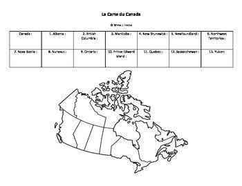 La Carte du Canada/Map of Canada French Activity
