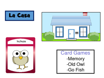 La Casa – The House Vocabulary in Spanish Card Games