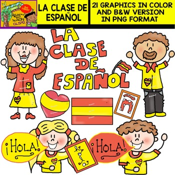 La Clase de Español (The Spanish Classroom) - Set of Cliparts
