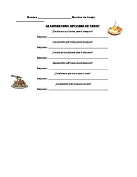 La Comida: Partner speaking activity