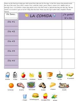 La Comida- Elementary Spanish- food vocabulary homework as