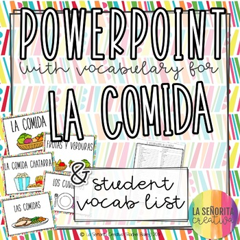 La Comida Vocab Powerpoint with Pictures and Notes