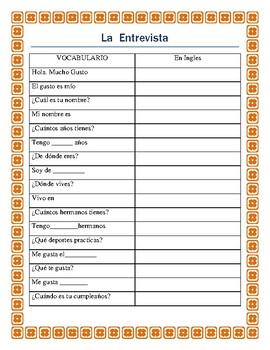 Greetings in Spanish- La Entrevista - Students interview e