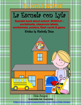 La Escuela-Spanish school BUNDLE-book, flash cards, worksh