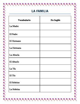La Familia-The Family in Spanish-Complete vocabulary and i