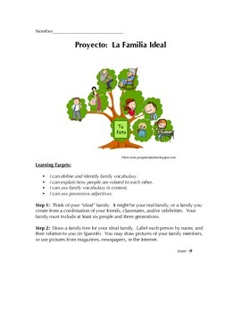 La Familia Ideal - Family Tree Project for Beginning Spani