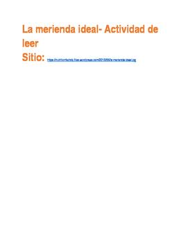 La Merienda Ideal Authentic Reading Activity