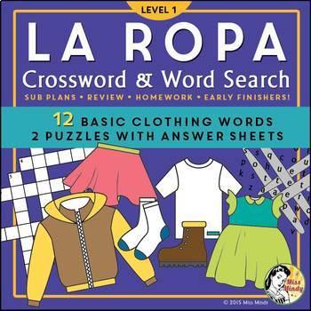 La Ropa (Basic) Spanish Clothing Vocabulary Crossword Puzz