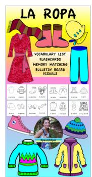 La Ropa- Vocabulary List, Flashcards, Memory Matching, & B