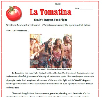 La Tomatina Reading / Emergency Sub Plan