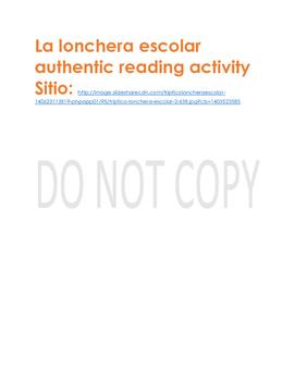 La lonchera escolar authentic reading activity