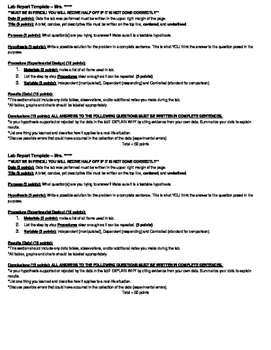 Lab Report Template - Two on one page *editable*