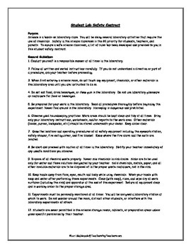 Lab Safety: Science Safety Contract