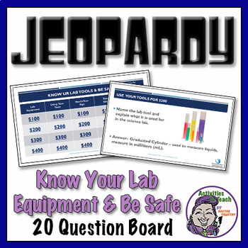 Lab Safety & Lab Equipment Jeopardy in PowerPoint - 20 que