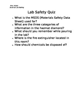 Lab Safety Quiz